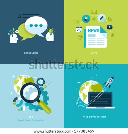 Set of flat design concept icons for web and mobile services and apps. Icons for consulting, news, seo, web development. - stock vector