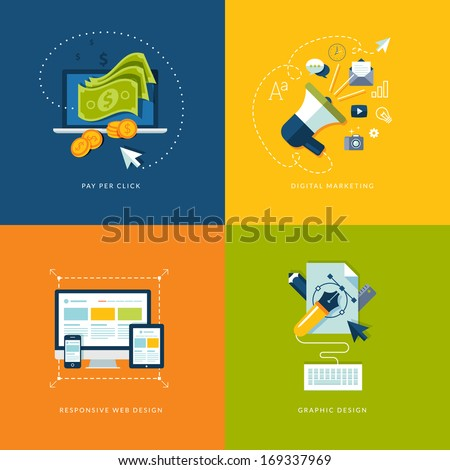 Set of flat design concept icons for web and mobile services and apps. Icons for pay per click internet advertising, digital marketing, responsive web design and graphic design. - stock vector