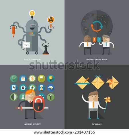 Set of flat design concept images for infographics, business, web, ai, mobile marketing, online comunication, internet securuty, tutorials, education - stock vector