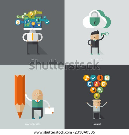Set of flat design concept images for infographics, business, web, education, art, programing - stock vector