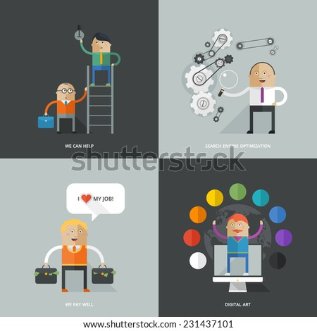Set of flat design concept images for infographics, business, web, service, education - stock vector