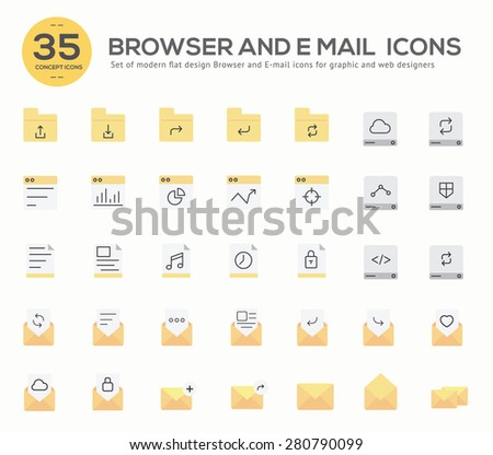 Set of flat design concept of Browser , Data and E-mail icons  Design for Website Banner Printable Vector Design  illustration. - stock vector