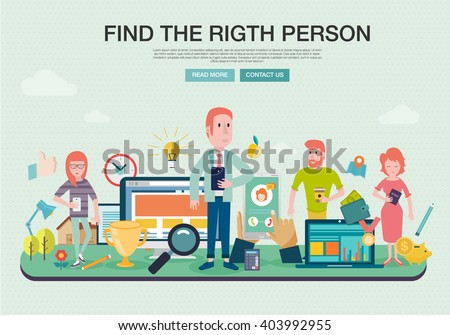 Set of flat design concepts for  career and business. Concepts for Finding the right people for work, life, business. Employee selection, big idea in business and marketing - stock vector