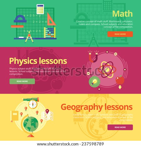 Set of flat design concepts for math, physics, geography. Concepts for web banners and print materials. - stock vector