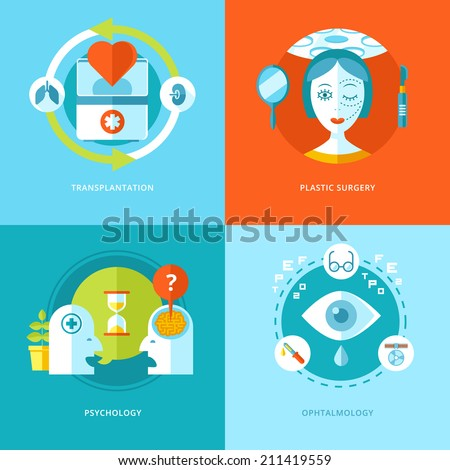 Set of flat design concepts for medical icons for mobile apps and web design. Icons for transplantation, plastic surgery, psychology and ophthalmology.  - stock vector