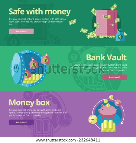 Set of flat design concepts for safe and money, bank vault, money box.  Concepts for web banners and print materials - stock vector
