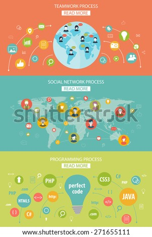 set of flat design concepts for social network, teamwork and programming
