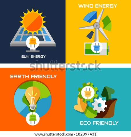 Set of flat design concepts - green energy. Solar panels, windmill, battery, light bulb, nature machine concept - stock vector