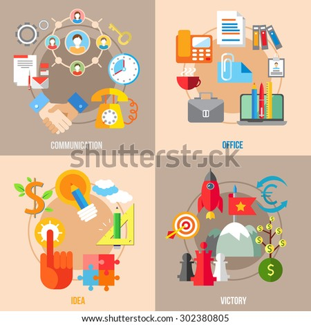 Set of flat design concepts of business communication, office, idea, victory on colored background - stock vector