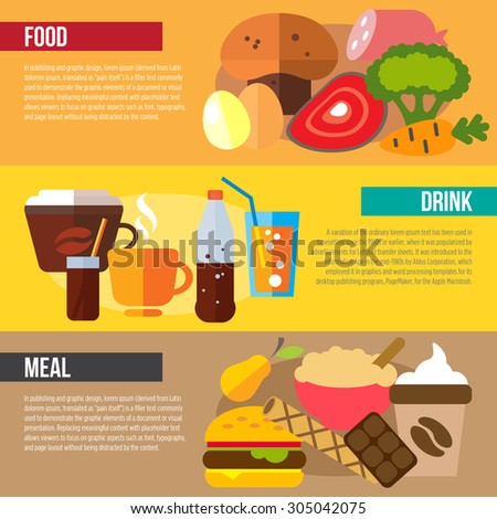 Set of flat design concepts of food, drink and meal on colored background