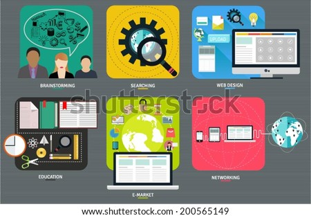 Set of flat design elements for phone and website user interface. Simple icons for applications. Brainstorming, searching, web design, education, e market and networking symbols. - stock vector