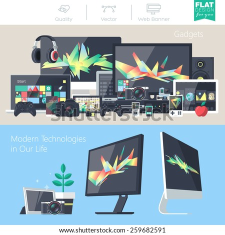 Set of flat design gadgets, electronic devices, mobile phone communications. Design items for business, website design app, promotional materials, web and mobile banners. - stock vector