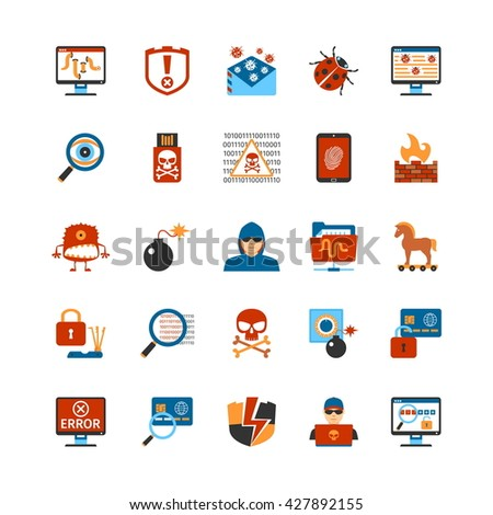 Set Of Flat Design Hacker Icons. Isolated Vector Illustration - stock vector