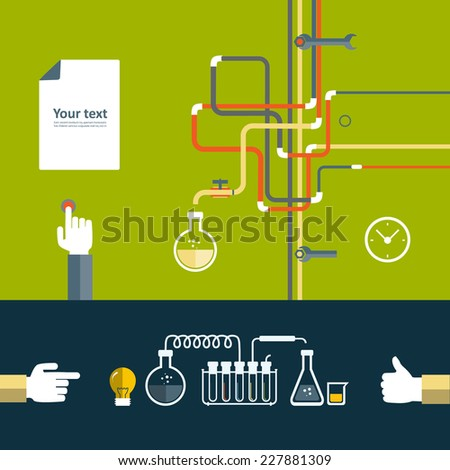 Set of flat design icon for experiment. - stock vector