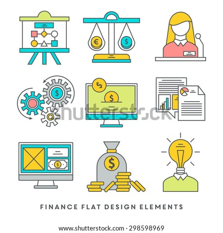 Set of flat design icons for business and banking  - stock vector