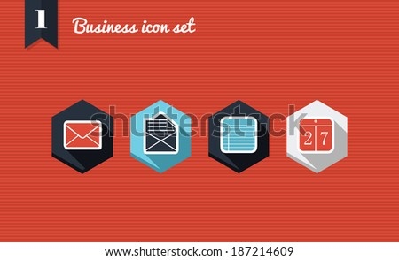 Set of flat design icons for Business, emailing and management campaign media marketing. Vector illustration file layered for easy editing. - stock vector