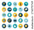 Set of flat design icons for Business, SEO and Social media marketing  - stock vector