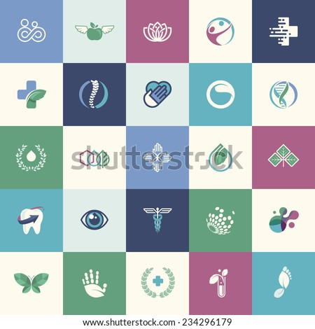 Set of flat design icons for medicine, healthcare, pharmacy, and natural product and healthy life,  for websites, print and promotional materials, web and mobile services and apps icons. - stock vector