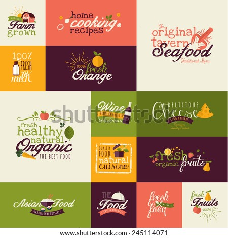 Set of flat design icons for natural food and drink, and restaurant - stock vector