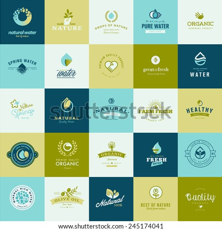 Set of flat design icons for nature, food and drink - stock vector