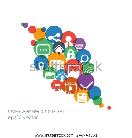 Set of flat design icons in colorful bars or icons for graphic user interface on websites, applications, infographic. Eps10 vector illustration.