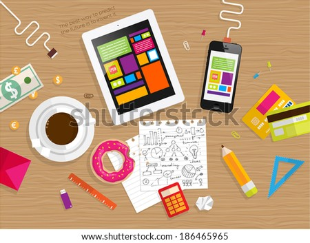 Set of Flat Design Icons. Mobile Phones, Tablet PC, Marketing Technologies, Mobile Apps, Email, Video Services and Money Management. Concept Icons for Web Site Design. Top View of Table with Coffee. - stock vector