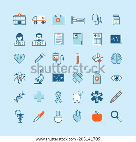 Set of flat design icons on medicine theme. - stock vector