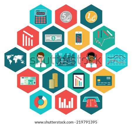 Set of flat design icons with financial infographic. vector illustration - stock vector