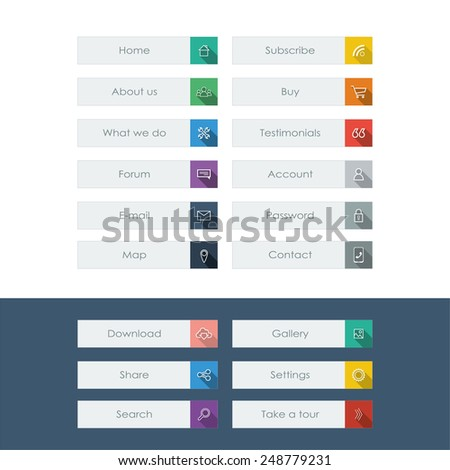 Set of flat design icons with long shadow in colorful bars for graphic user interface on websites, applications, infographic. Eps10 vector illustration. - stock vector