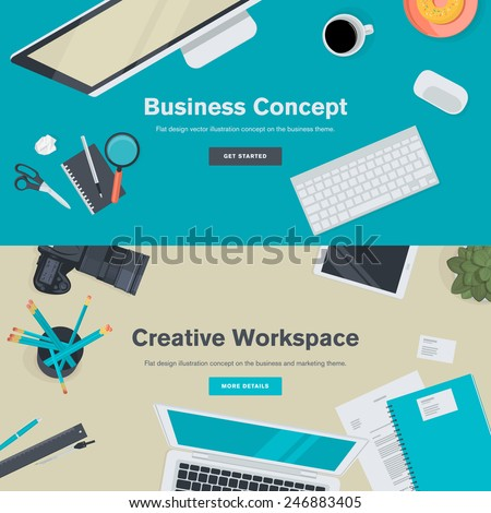 Set of flat design illustration concepts for business and creative workspace. Concepts for web banners and promotional materials.   - stock vector