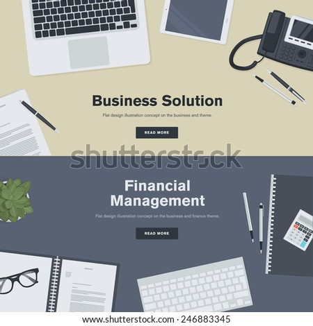 Set of flat design illustration concepts for business and finance. Concepts for web banners and promotional materials.   - stock vector