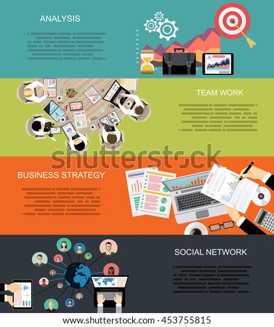 Set of flat design illustration concepts for business, finance, consulting, management, human resources, social network, employment agency, staff training,money, technology, navigation.