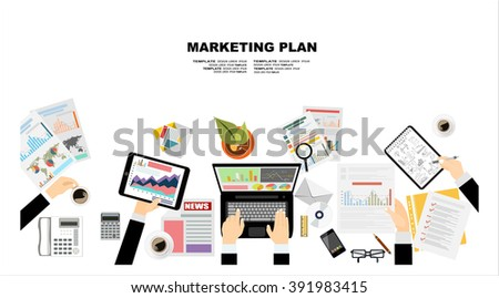 Set of flat design illustration concepts for business plan and marketing plan. Concepts for web banner and promotional material. - stock vector