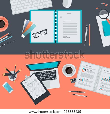 Set of flat design illustration concepts for creative project, graphic design development, business, finance, e-commerce. Concepts for web banners and promotional materials.   - stock vector
