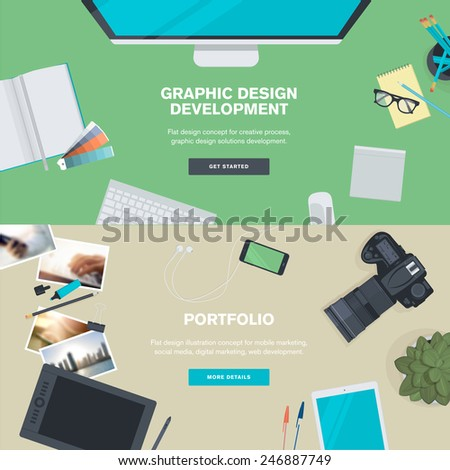 Set of flat design illustration concepts for graphic design development and portfolio. Concepts for web banners and promotional materials.   - stock vector
