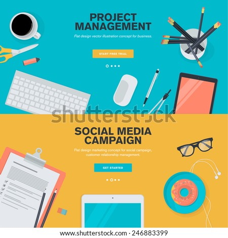 Set of flat design illustration concepts for project management and social media campaign. Concepts for web banners and promotional materials.   - stock vector