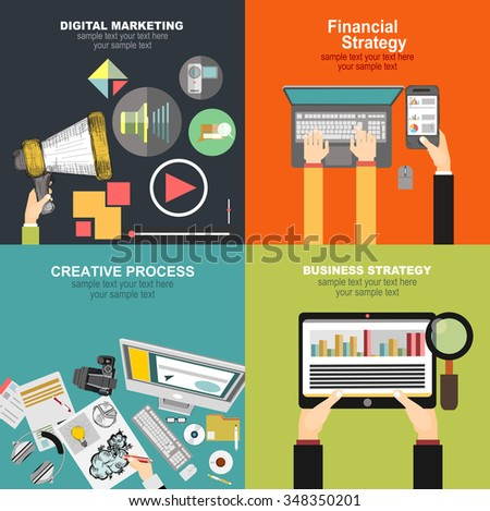 Set of flat design illustration concepts for video and digital marketing.Concepts for business planning and accounting, analysis, team work,audit, project management, marketing. - stock vector