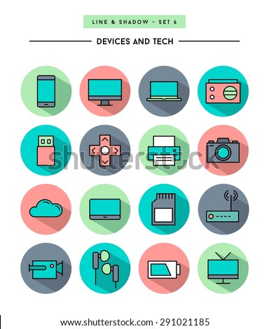set of flat design,long shadow, thin line devices and tech icons, vector illustration