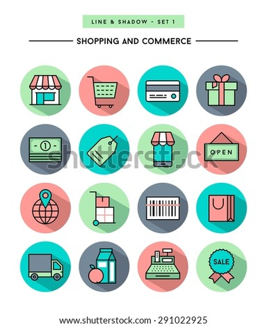 set of flat design,long shadow, thin line shopping and commerce icons, vector illustration - stock vector