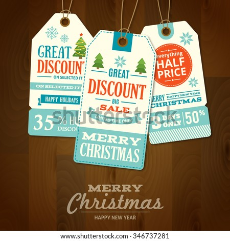 Set of flat design Merry Christmas and New Year cute ready-to-use gift tags, Christmas Sale labels, price tags isolated on wood background. Merry Christmas badges, banners, Christmas design elements. - stock vector