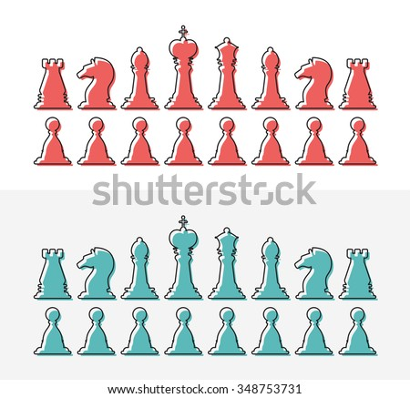 Set of flat design outline chess vector silhouettes. Collection of the king, queen, bishop, knight, rook, and pawn - stock vector