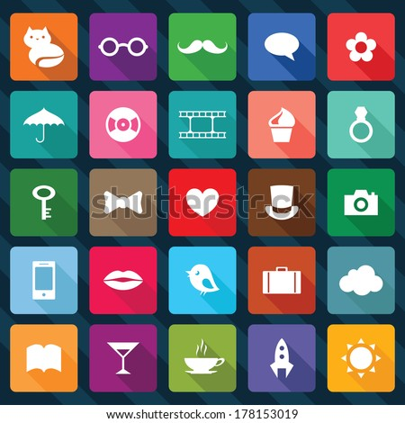 Set of flat design square icons. Vector illustration saved 8 EPS. - stock vector