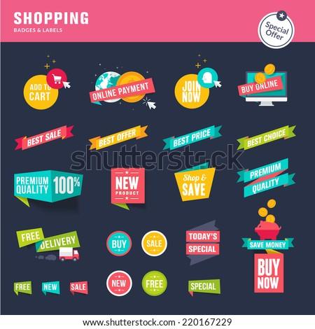 Set of flat design stickers and ribbons for shopping - stock vector