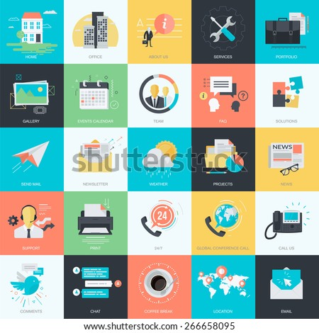 Set of flat design style concept icons for graphic and web design. Basic icons for websites and apps design and development. - stock vector