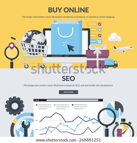 Set of flat design style concepts for e-commerce, m-commerce, online shopping, web development, SEO. Concepts for website banners and printed materials.     - stock vector