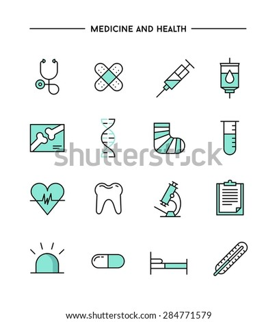 set of flat design, thin line medicine and health icons, vector illustration  - stock vector