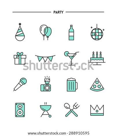 set of flat design, thin line party icons, vector illustration