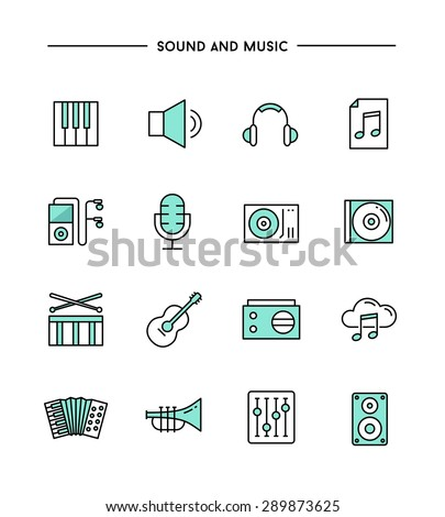set of flat design, thin line sound and music icons, vector illustration - stock vector