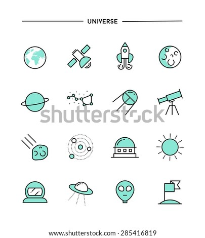 set of flat design, thin line universe icons, vector illustration - stock vector