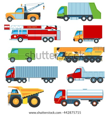 Set Of Flat Design Trucks Icons. Isolated Vector Illustration